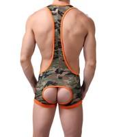 Men's Camouflage Jockstrap Bodywear,Wrestling Singlet Bodysuit,Mankini,Stretch Material.