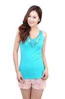 2014 New Women Vest Flower Inlaid Pearl Gorgeous Noble Vest Temperament Cotton T-Shirt Sexy Women Tops Fashion Tanks & Camisole