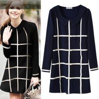 2013 new autumn fashion women's loose big yards dresses Europe checkerboard long sleeve casual dress women Free Shipping