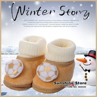Sunshine store #2B2050  5 pair/lot(2 colors)Baby winter warm shoes football boy's coral velvet booties prewalker non-slip CPAM