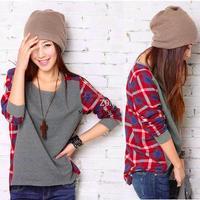 Women Cotton Long Sleeve Shirt O-Neck Plaid Checks Print Casual Top Loose T-Shirt Gray B2 7820