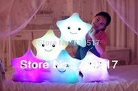 Colorful LED Night Flash Light Lucky Star Plush Stuffed Toys Led Light Pillow For Kids Led Light Cushion With Musical Plug KF372
