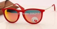Top selling 2015 brand Women Luxury Fashion Vintage Sunglasses rb erika velvet polarized 4171 polarized Red mirror glasses 55mm