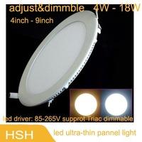new 2013   LED Panel Light  dimmble 85V-265V Warm White / White 4W 6W 9W 12W 15W 18WLED Pannel Lamp free shipping 2pcs/lot