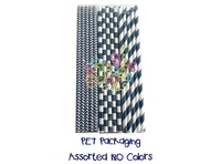 "300 Assorted Designs of 7.75"" Holiday Paper Straws in PET Packaging (80 boxes/2,000 pcs)"
