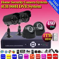 Free shipping 4CH CCTV surveillance DVR Kit 480TVL IR weatherproof Camera,Mobile Phone Monitor 4ch D1 DVR Recorder CCTV Systems