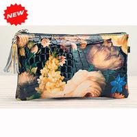 2014 Newest Fashion Women's Day Clutch Genuine Patent Leather Flower Handbag Retro Shoulder+Messenger Bag,with Chain,CN-363