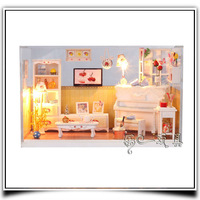 Kawaii DIY Wooden Doll House With Dust Cover Free Shipping Dollhouse Miniature Gift Items