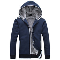 2014 new youthful men plus thick velvet zipper hoodie sweater men's sports and leisure warm coat free shipping