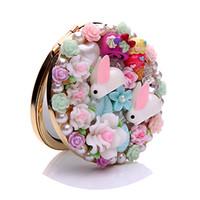 Crystal Mini Beauty Pocket  Makeup Mirror Portable  Fashion Cartoon Resin flower Metal snaps Dual sides Make up Tools