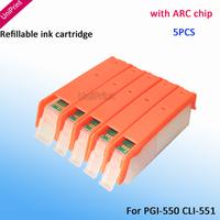 5PCS PGI-550 refillable ink cartridge for Canon Pixma IP7250 MG5450 MX925 MG5550 IX6850 MX725 MX925 printer ink with ARC Chips