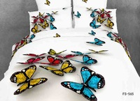 Reactive printed 3d bedding set cotton full queen king size bedclothes duvet cover set butterfly coverlet bed linen sheet linen