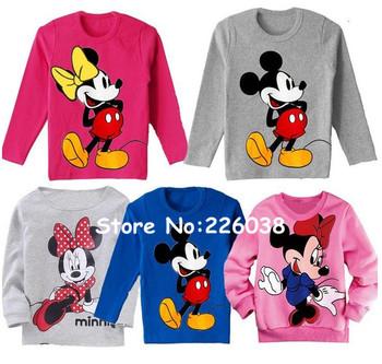 Newborn Baby T-Shirt/Fashion Girl Boy Long Sleeve T Shirt/Infant Cute Mickey Minnie Mouse Clothing/Pink Blue/Fall/Retail 1pc