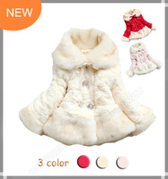 NEW 2013 Winter Hot Sale Girls' Fashion Fur Jacket Girl's Coat Girl's Warm Outwear Kid's Fashion Coat Free Shipping