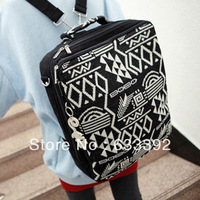 2013 Autumn and Winner Women's Handbag Knitted Vintage Backpack Canvas Laptop Backpack Fashion Embroidery Bookbag Free Shipping