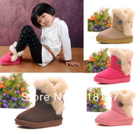 Free shipping Cute girls Snow boots children Antislip child warm shoes kids Children's Boots 4 colors 6 size 3-8years