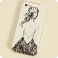 Free shipping aesthetic elegant figures figure Illustration pretty Lady cover for i phone 5 5S cases for iphone 5G