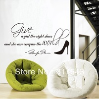 Free shipment  Give A Girl A Right Shoes 31*61cm Marilyn Monroe Quote  Art  Vinyl Wallpaper wall stickers home decor H8051