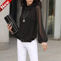 Europe blusas femininas woemn blouse plus size XXXXL shirt, Fashion Chiffon Bow causal blouse shirts for Women Free Ship