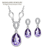Neoglory  MADE WITH SWAROVSKI ELEMENTS Crystal Czech Rhinestone Jewellery Set  Female Necklace And Earrings 2014 Hot Selling