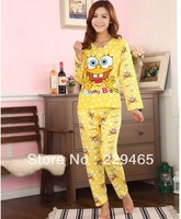 Hot sale Milk silk spongebob pajamas spring autumn long-sleeved ladies suits tracksuit home sleep wear clothes set sponge bob