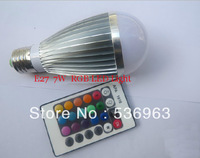 16 Color Change 7W E27 RGB LED Spotlights  85-265V+IR Remote Control