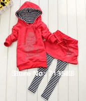Retail~New style baby girls sports suit ,baby mickey Sets hoody skirt pants children's wear ,(1 set/lot)