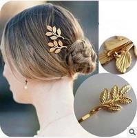 New  2014 Korean Style Fashion  Leaf Hair Clip Hair Accessories Barrettes For Women Hairpins F032