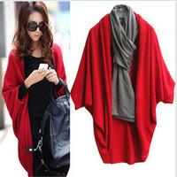 Free shipping women sweater classic Winter bat shawl sweater knit cardigan female coat big yards long section of loose