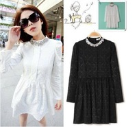 Drop Shipping New 2013 Autumn -Summer Print Vintage Dress Winter Diamond Stand Collar Long Sleeve Lace Dress Women Plus Size