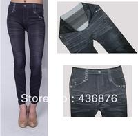Simple Fresh Style Imitation Jeans Solid Black Print Leggings For Women Skinny Fit Pants Jegging Slimming Ankle Length