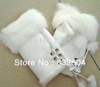 Free shipping Fashion Rabbit hair women's half leather winter gloves white glove