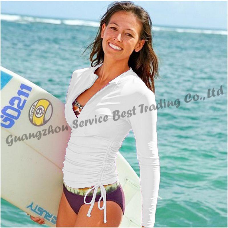 UPF 50+ Sun Protection Women Lycra Wetsuit Diving Surfing Suit Swimwear Rash Guard Rashguard Shirt for Paddle Windsurfing(China (Mainland))