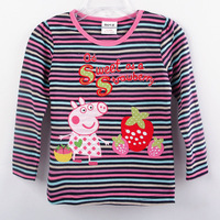 Wholesale 5pcs/lot Purple Striped Baby Clothing peppa pig embroidered 100% cotton Girls t shirt Long sleeve t shirts for girls