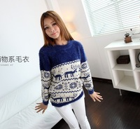 2013 Fashion Autumn Forest Warm Cartoon Ma Haimao Bottoming Sweaters Sweet Girls Sweater YG4322
