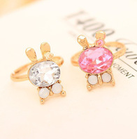 P0746 Free shipping Fashion delicate sparkling crystal size adjustable rabbit ring for women