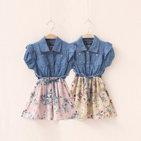 (110-140cm) 5pcs/lot New arrival Autumn fashion Floral Print Patchwork denim  dresses / with belt