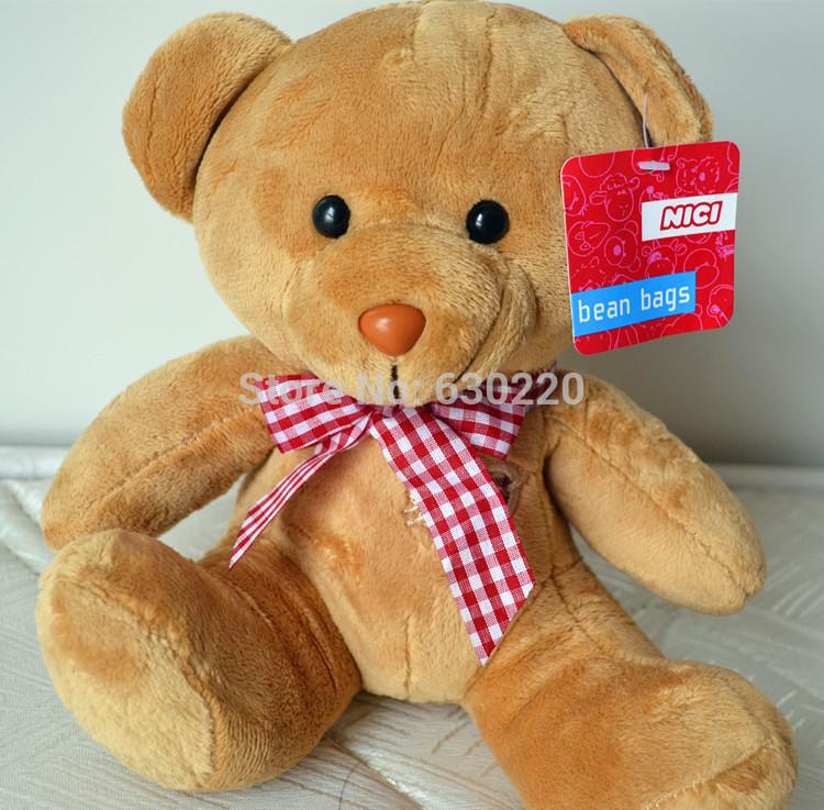 Free shipping 25cm 10inch teddy bear Plush Toys kawaii for kids christmas gift NICI BRAND 6 color for choose(China (Mainland))
