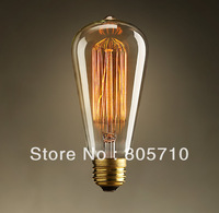 Brand New  ST64 Edison  Bulb E26/E27 220-240V  40W  Warm White  Glass Material 60*140(mm) 4Pcs/Lot  Antique lamp FREE SHIPPING!