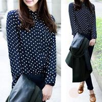 new hot lady viniage polka dot chiffin long sleeve lapel shirt