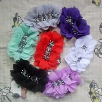 Hot Sale Rhinestone Center Handmade Chiffon Flowers for shoes Clothing children's hair accessories for women headband flowers