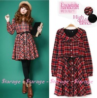 S/M/L/XL Autumn Winter Sweet Retro Peter Pan Collar Slim Waist Plaid Flannel One-piece Red Dress 2014 New Women Clothes 1710