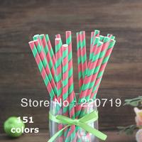Free Shipping(500pcs/lot) 151 colors & 25Packing environmental party Striped chevron and Polka Dot Drinking Paper Straws