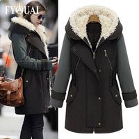 FYOUAI winter coat womens NEW Warm cashmere jacket woman Warm clothing European style Cap woolen jacket coat big size