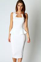 New 2014 Womens Work  Abi Neck Detail Sleeveless Midi Dress in White Winter Summer Sexy Casual frozen echarpes