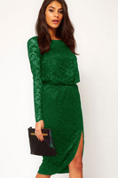 Women Summer Club Dresses Long Sleeve Lace Black Midi Dress with Cowl LC6172 Back and Split Party Sexy Vestidos roupas femininas