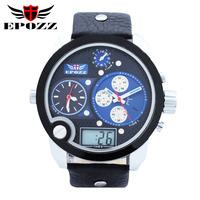 Hot Sale casual fashion men military watches Multiple Time Zone Leather strap digital quartz watch relojes de resistente relogio