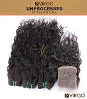 Virgo Hair 2 or 3Pcs Hair Bundles With 1Pcs Lace Closure Brazilian Virgin Hair Water Wave Human Hair Bundles with Closure