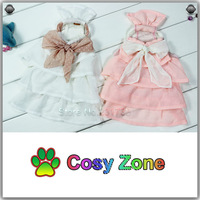 DG050 Pink & White Chiffon Skirt For Pet Dog,Summer Small Dog Dress Dog Clothes,Free Shipping