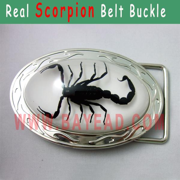 Real Black Scorpion Resin Metal Belt Buckle Insect Bug Belt Buckle very Cool Man Buckle Man